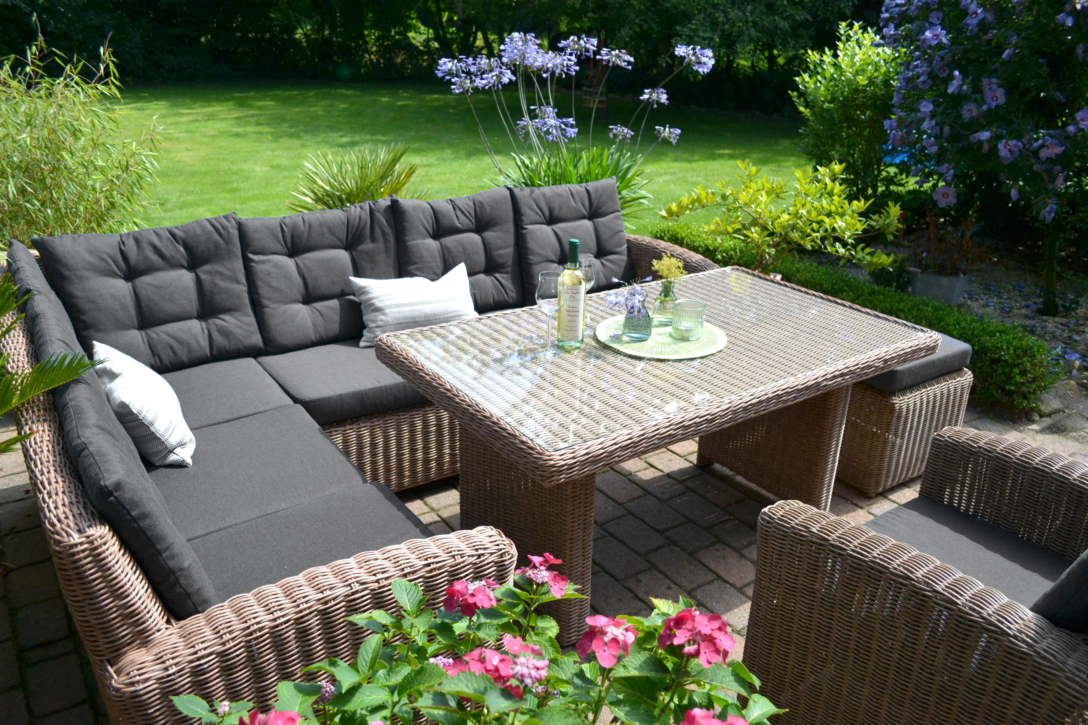 Ecklounge Natur - Polster schwarz Braun Sofa Sessel Tisch ...