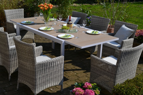 Sitzgruppe Madrid mit 8 Sesseln Neapel - Tisch verlängerbar