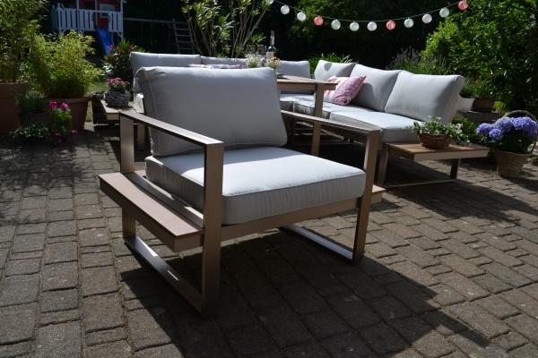 Lounge-Sessel Atlanta im Edelstahl/Teak Look - Polsterfarbe beige