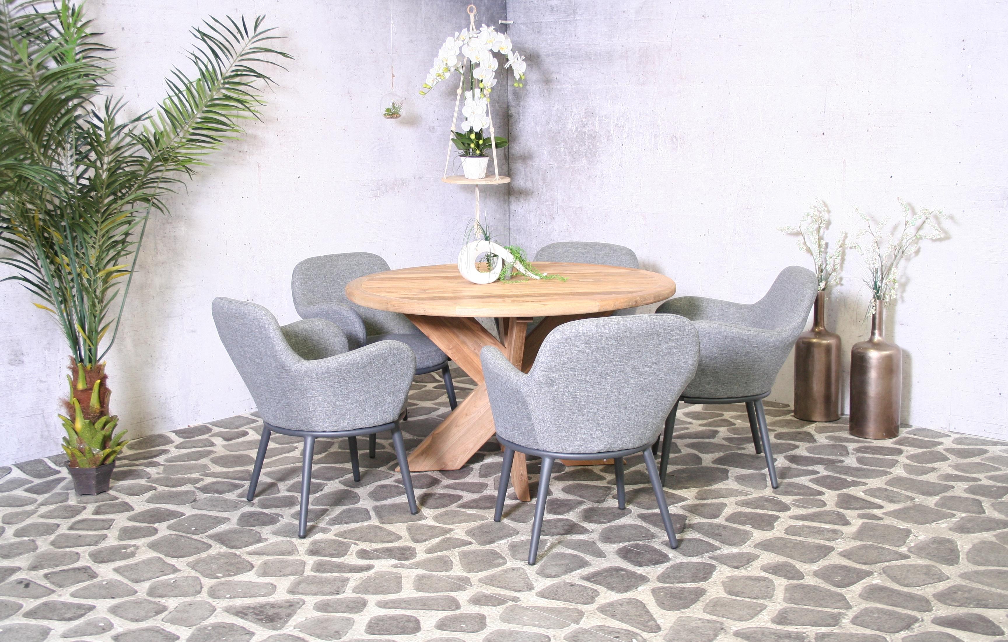Edle Garnitur Malta mit rundem Tisch + 5 Sessel | Bomey ...