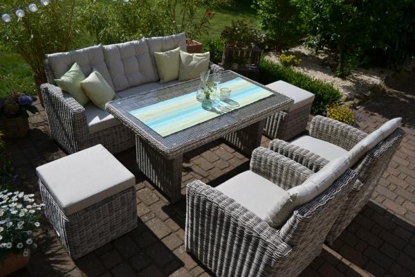Sofagarnitur Manhattan sand-grau (3 Sitzer Sofa + Tisch + 2 Sessel + 2 Hocker)
