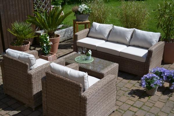 Lounge-Gruppe Gotland Natur (3-Sitzer Sofa plus 2 Sessel und 1 Tisch)