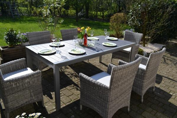 Essgruppe Neapel - XL - Tisch verlängerbar 203/305x100cm + 6 Sessel Neapel grau Polster beige