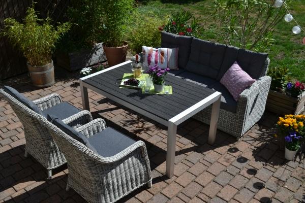 Sofagarnitur Manhattan-C2 sand-grau Polster grau - 3 Sitzer Sofa + Tisch Miami + 2 Sessel Como