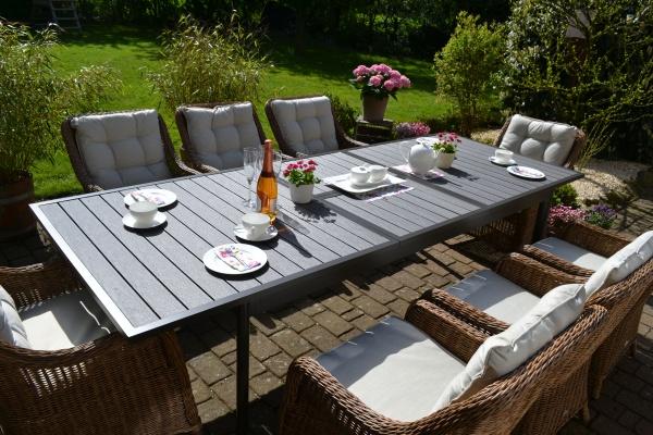 Sitzgruppe Como-XL naturbraun (R) für 6 Personen - Polster beige-hellgrau