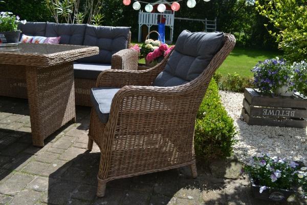 6 x Sessel Como Natur-braun mit Sitz- und Rückenpolster in mittelgrau