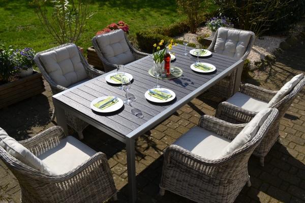 Essgruppe Neapel XL - Tisch verlängerbar 203/305x100cm + 6 Sessel grau Polster beige