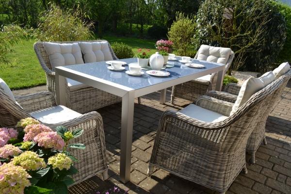 Garnitur Paris (Tisch im Edelstahllook mit grauer Glasplatte, 4 Sessel und 1 Bank) Polster beige