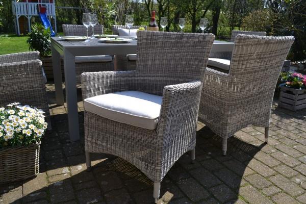 6 x Sessel Neapel sand-grau mit Polster in beige-hellgrau