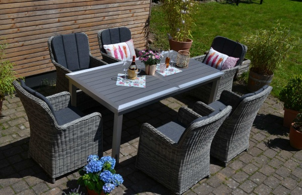 Essgruppe Stockholm im Edelstahllook - Tisch verlängerbar 180/260x100cm + 6 Sessel Como-GR dunkelgra