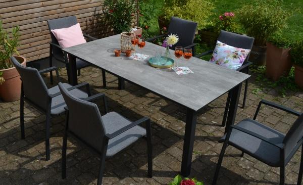 Tisch Florenz 180 cm x 90cm + 6 Stapelstühle Solero