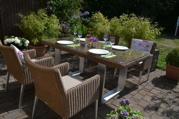 Sitzgruppe Nizza 170x90cm + 4 bequeme Sessel