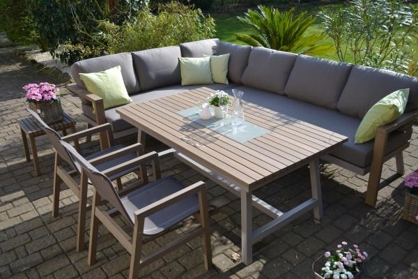 Enviro Wood Ecklounge 2 Stühle Tisch Mailand L-Form, lange Seite des Sofas rechts