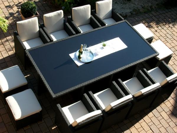 Toscana XXL schwarz (8 Sessel 4 Hocker 1 Tisch)
