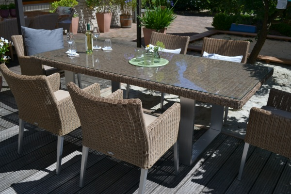 Sitzgruppe Nizza mit Tisch 220x100cm + 6 bequeme Sessel