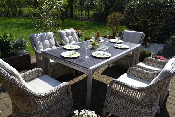 Essgruppe Neapel - Tisch verlängerbar 170/255x100cm + 6 Sessel grau Polster beige