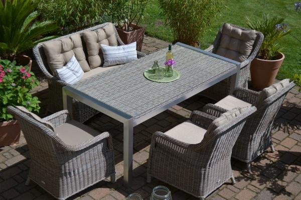 Paris sand-grau (Tisch, 4 Sessel und 1 Bank)