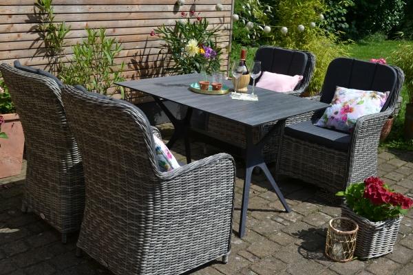 HPL Tisch Jasper 120 x 80 cm + 4 Polyrattan Sessel Como-GR dunkelgrau