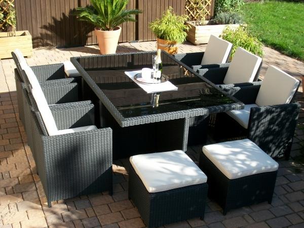 Toscana XL schwarz (Tisch, 6 Sessel + 3 Hocker)