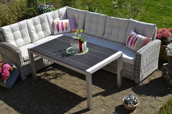 Ecklounge Manhattan sand-grau Polster beige mit Tisch Miami (Ecksofa + Tisch)