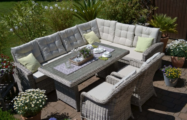 Ecklounge Sitzgruppe Manhattan-C2 LINKS sand-grau - Polsterfarbe beige - langer Schenkel LINKS-