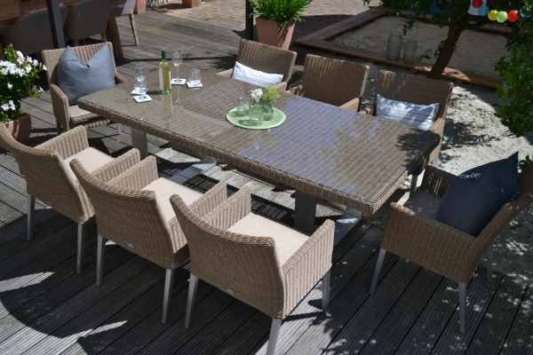 Sitzgruppe Nizza mit Tisch 220x100cm + 8 bequeme Sessel
