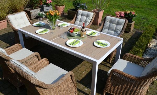 Sitzgruppe Madrid XL mit 6 Sesseln Como Natur - Tisch verlängerbar