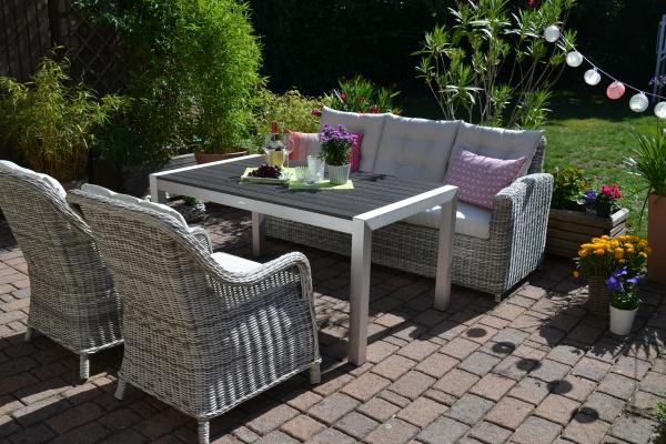Sofagarnitur Manhattan-C2 sand-grau, Polster beige - 3 Sitzer Sofa + Tisch Miami + 2 Sessel Como