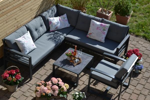 Ecklounge Elba aus Aluminium in Anthrazit + 1 Lounge Sessel - Polsterfarbe grau