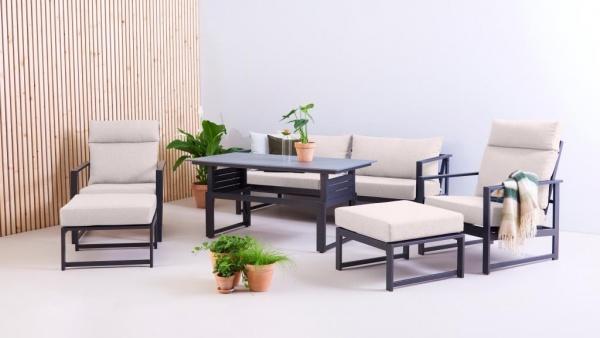 Outfit Loungegruppe Iris - Sofa + 2 Sessel mit Liegefunktion + 1 Hocker + Tisch - Polster beige