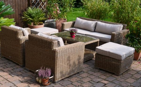 Exklusive Loungegruppe Provence NATUR (Sofa, 2 Sessel, 2 Hocker und Tisch)