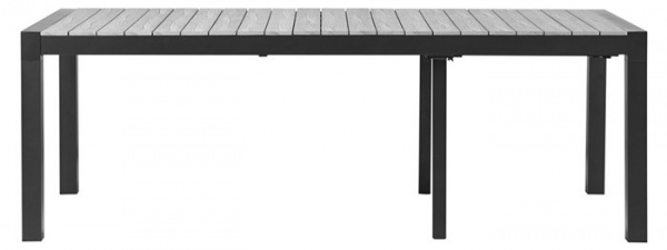 Garnitur Johan XL 224/284/344cm x100cm Polywood GRAU + 8 Sessel Como-GR dunkelgrau Polster dunkelgr
