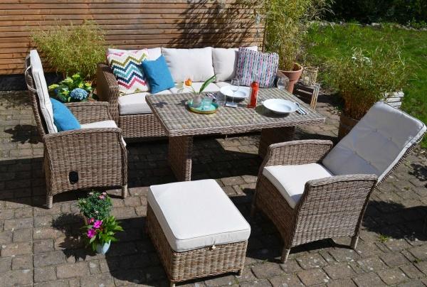 Vila Dining Lounge Gotland (3-Sitzer Sofa + 2 Sessel mit Liegefunktion + Tisch + Fußhocker)