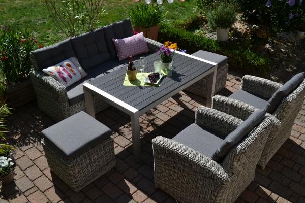 Sofagarnitur Manhattan sand-grau Polster grau - 3 Sitzer Sofa + Tisch Miami + 2 Sessel + 2 Hocker