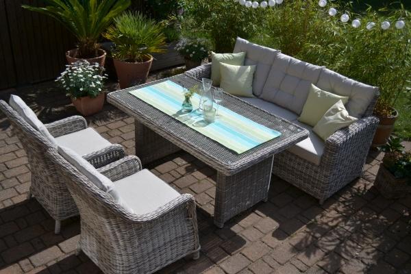 "Sofagarnitur Manhattan-C2 sand-grau (3 Sitzer Sofa + Tisch + 2 Sessel ""Como"")"