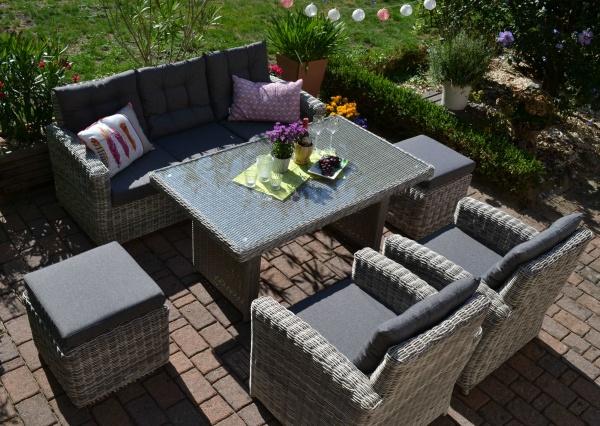 Sofagarnitur Manhattan sand-grau Polster grau (3 Sitzer Sofa + Tisch + 2 Sessel + 2 Hocker)