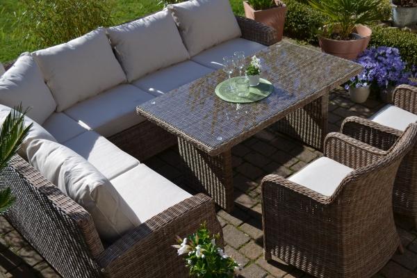 Ecklounge Gotland Natur (Ecklounge mit Tisch und 2 Sessel)