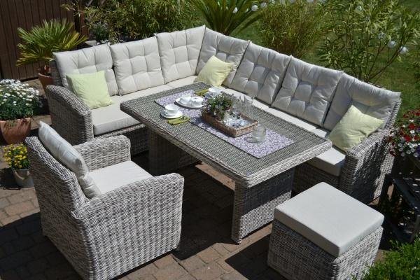 Ecklounge Sitzgruppe Manhattan sand-grau Polster beige (Ecksofa + Tisch + Sessel + Hocker)