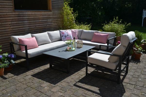 Outfit Iris - Ecksofa + 1 Sessel mit Liegefunktion + Tisch - Polster natur beige