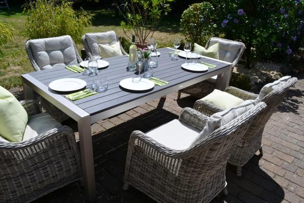 Sitzgruppe Miami 200x100cm mit 6 Sesseln grau Polster beige
