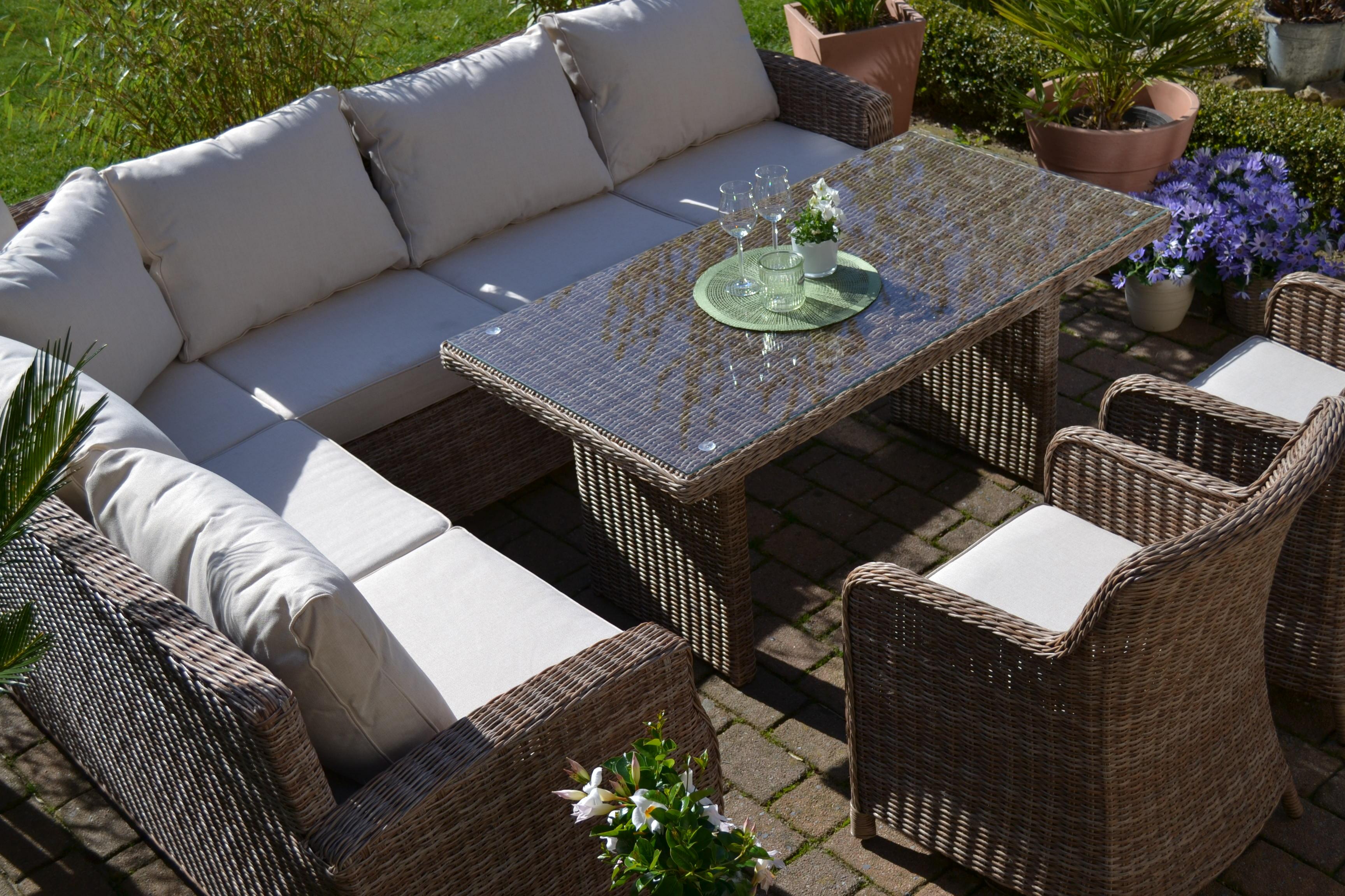 Ecklounge natur braun sofa sessel tisch bomey handel gbr for Lounge garnitur terrasse