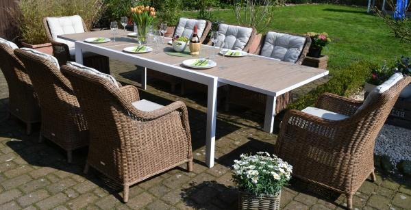 Sitzgruppe Madrid XL mit 8 Sesseln Como Natur - Tisch verlängerbar