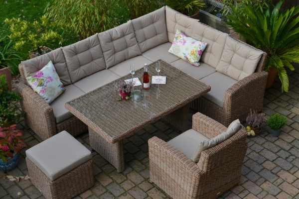 "Ecklounge Manhattan NATUR ""LINKS"" (Ecksofa + Tisch + Sessel + Hocker)"