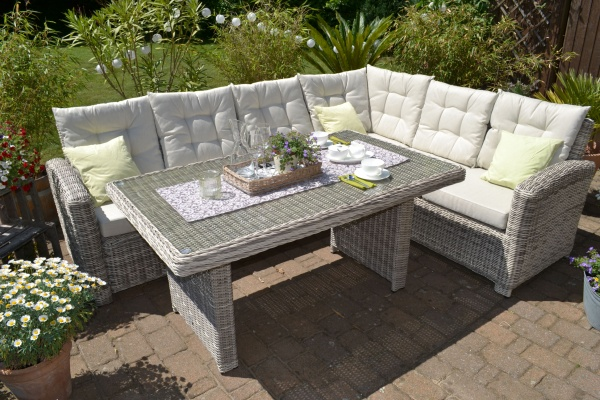 "Eckounge Manhattan ""links"" sand-grau (Ecksofa plus Tisch)"