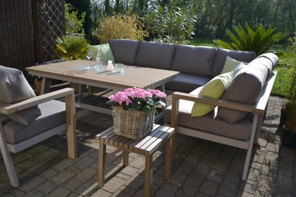 Enviro Wood Ecklounge Sessel Tisch Mailand L-Form, lange Seite des Sofas rechts