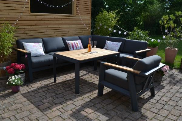 Alexia Teak Ecklounge + Teak Tisch + 1 Lounge Sessel