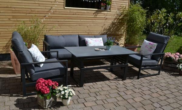 Outfit Loungegruppe Iris - Loungesofa + 2 Sessel mit Liegefunktion + höhenverstellbarer Tisch - Pols