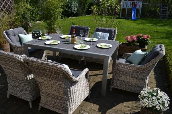 Essgruppe Neapel - Tisch verlängerbar 170/255x100cm + 6 Sessel grau Polster grau