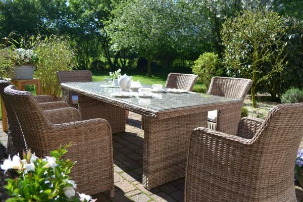 Garnitur Gotland-6 Natur (großer Tisch mit Glasplatte und 6 Sessel)