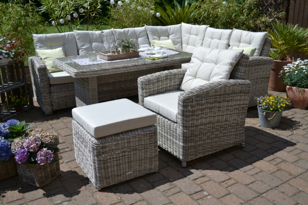 "Ecklounge Sitzgruppe Manhattan sand-grau ""links"" (Ecksofa + Tisch + Sessel + Hocker) Polsterfarbe be"
